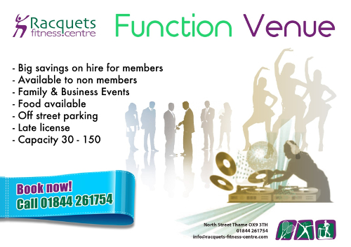 Function venue hire at Racquets Fitness Centre