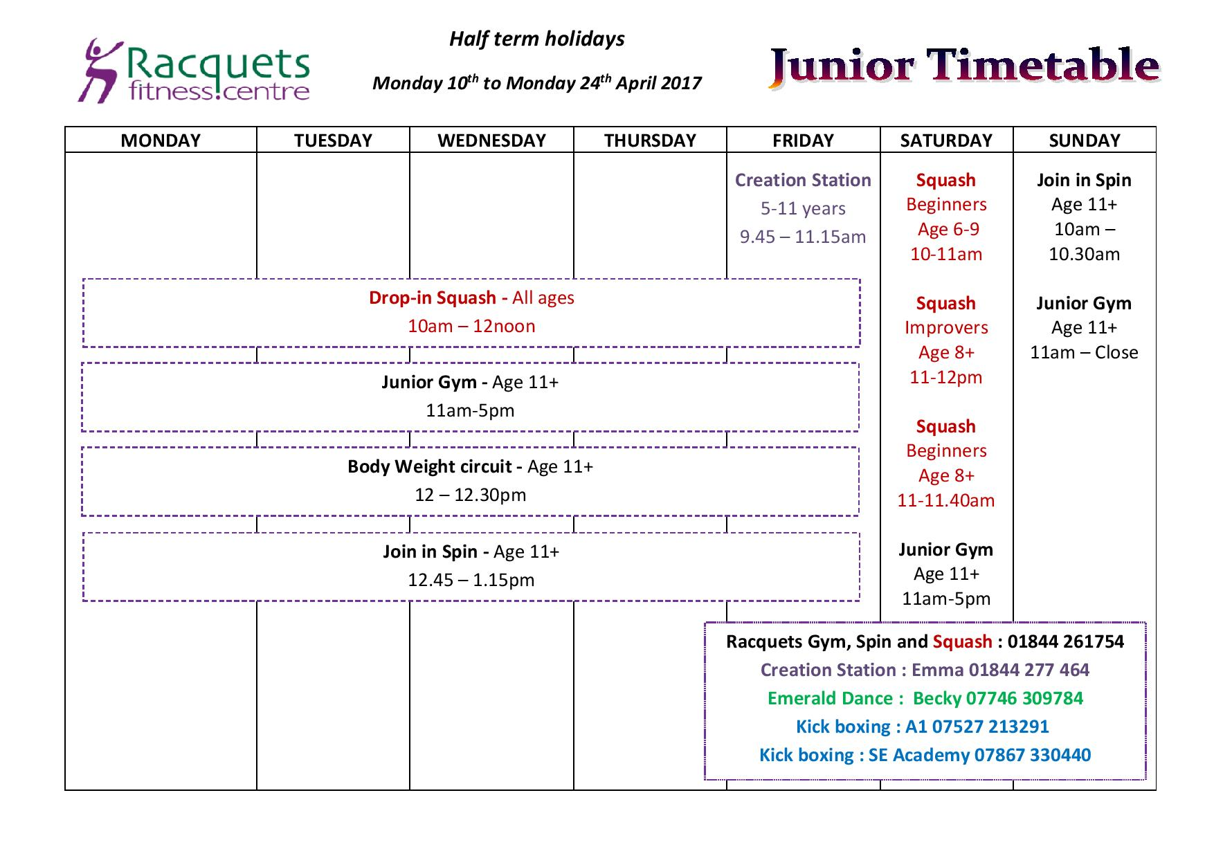 Junior Timetable - holiday