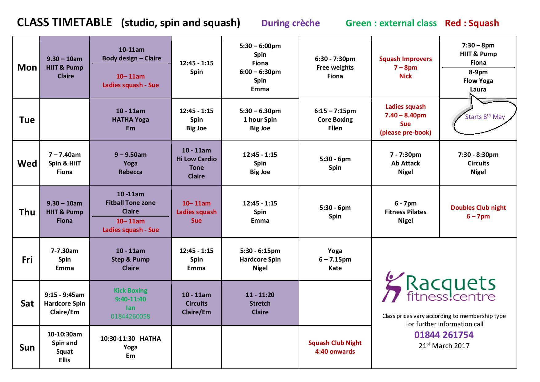Timetable - March 2017