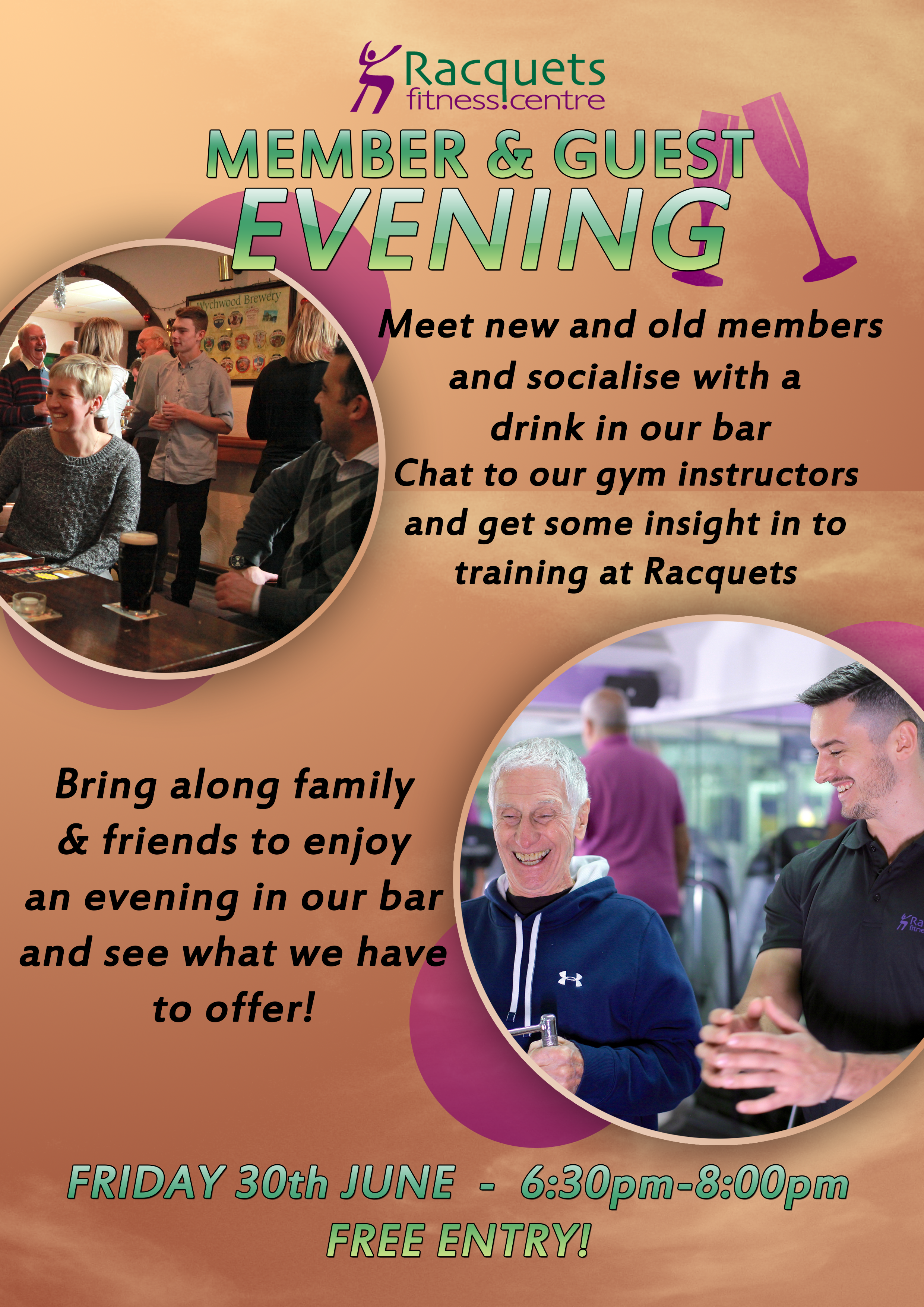 Racquets Fitness Centre | members guest evening poster